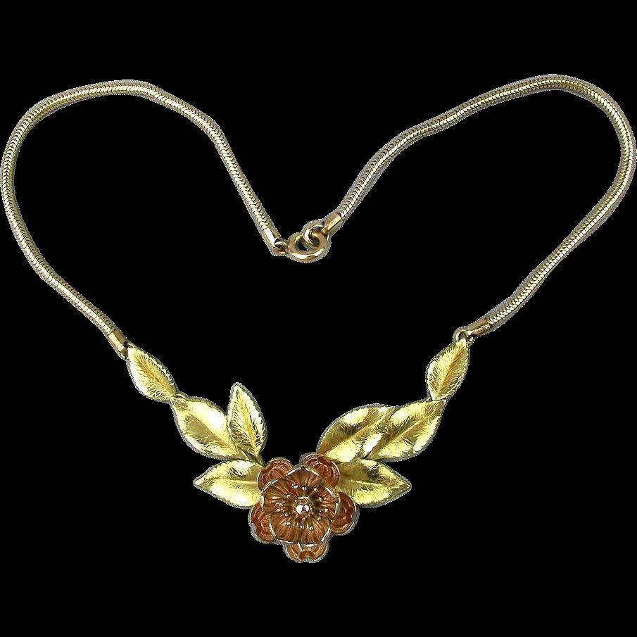 vintage 1930s krementz gilt flower necklace two tone gold