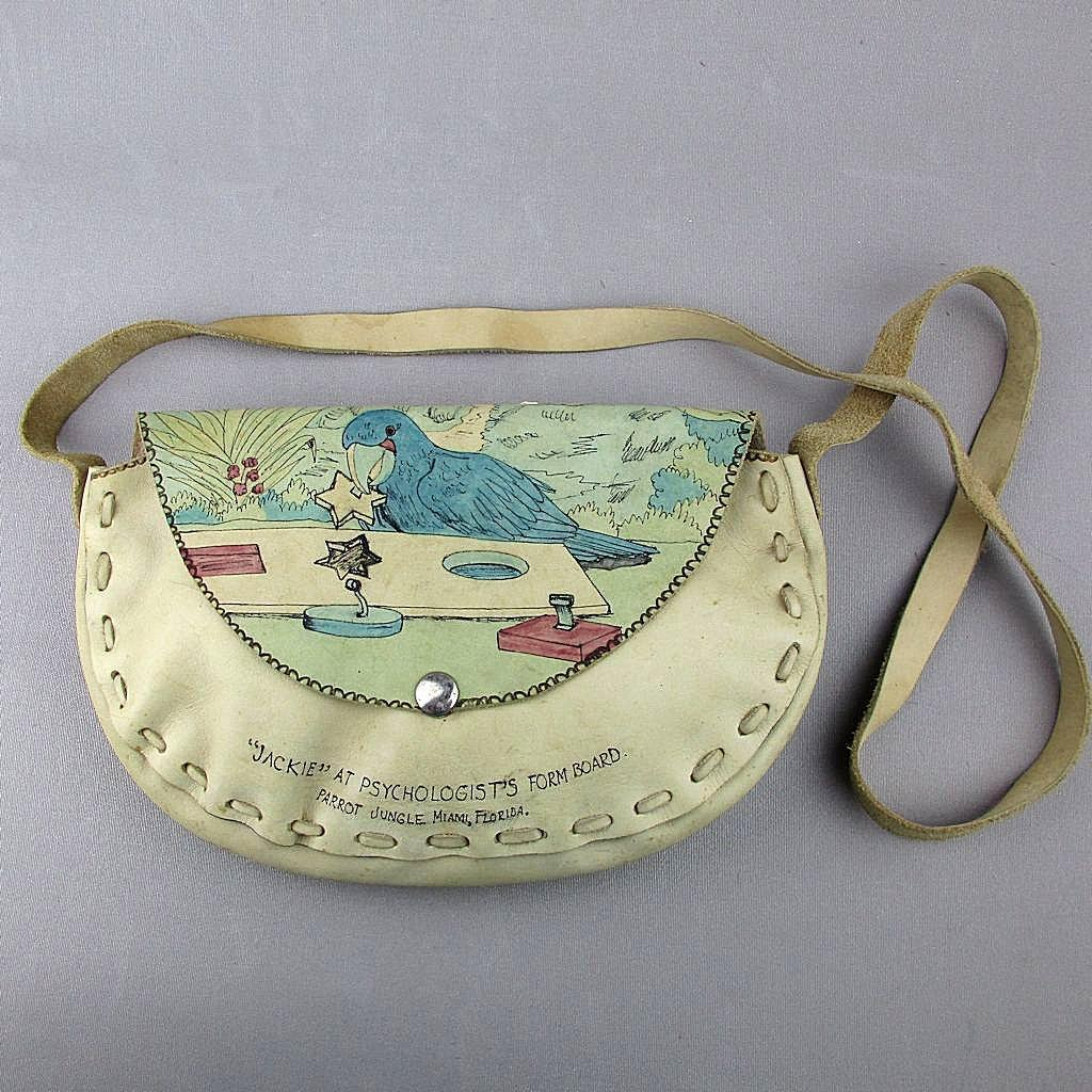 Vintage 1950s Art on Leather Handbag Parrot Jungle Bird Taking Psyche Test