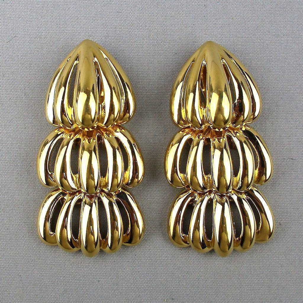 Big Bold Faux Gold GIVENCHY Dangle Earrings