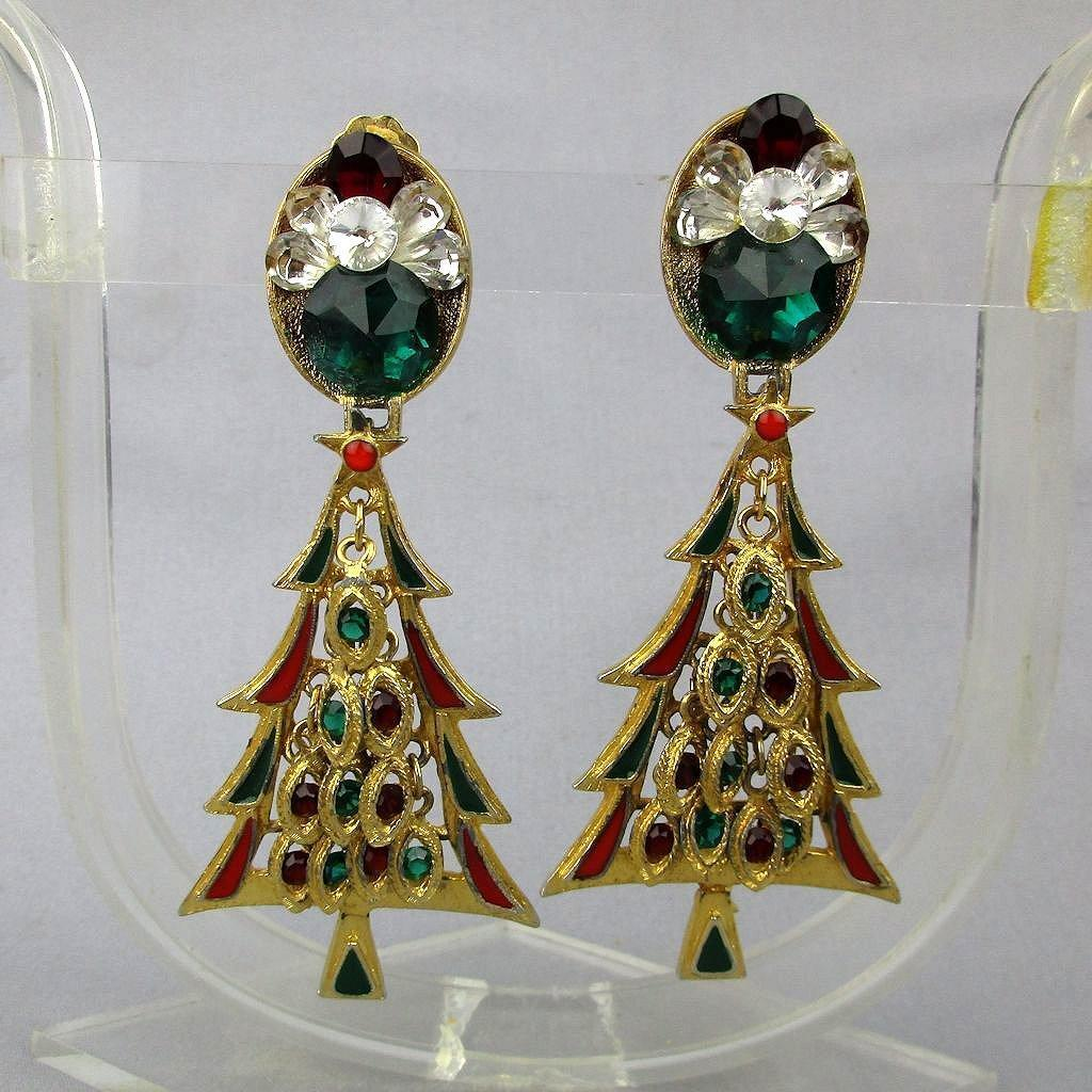 Vintage Big Jeweled Rhinestone Christmas Tree Earrings