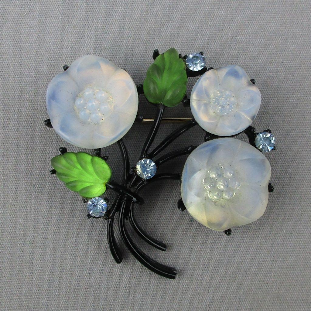 Vintage Austrian Molded Glass Flowers Pin Brooch - Translucent