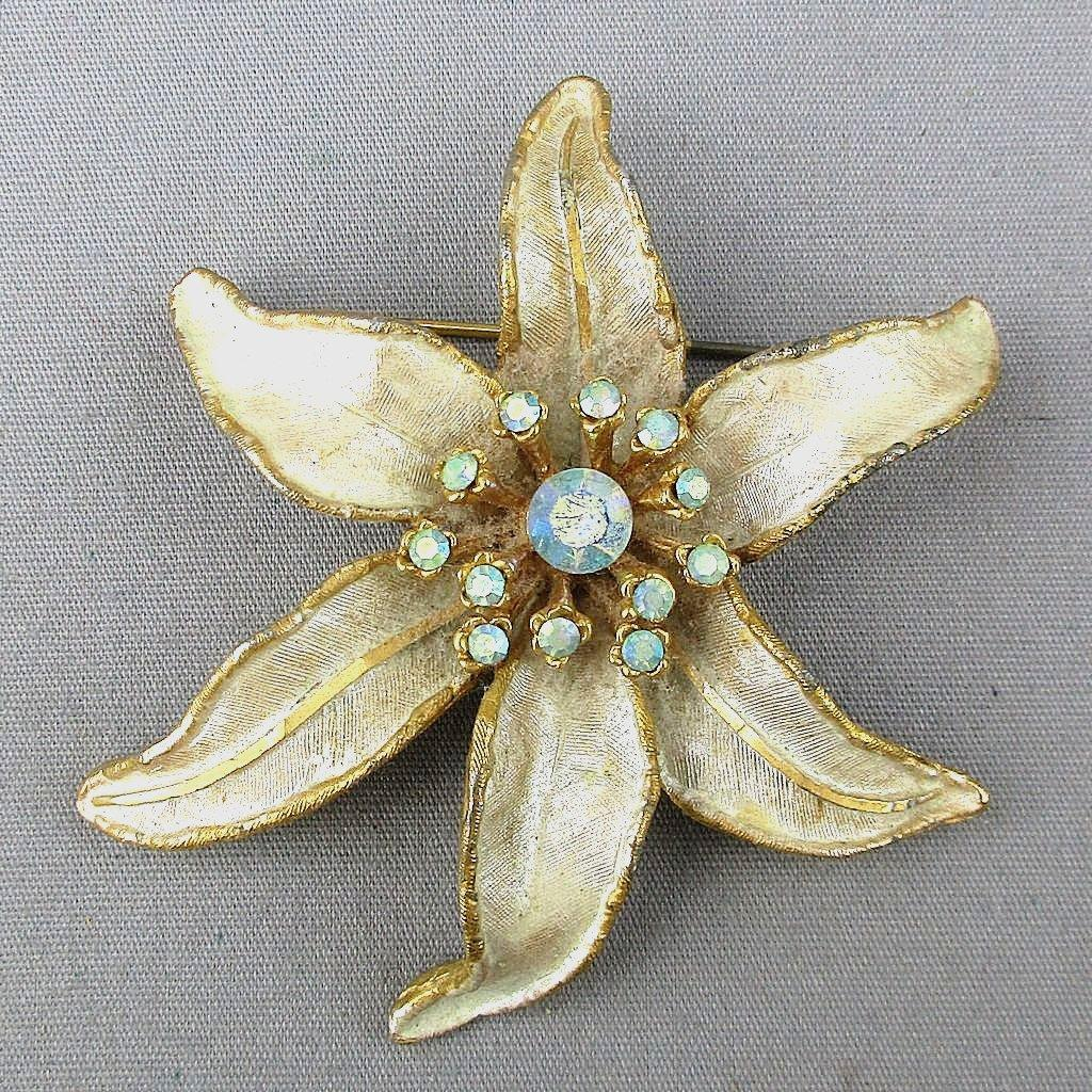 Vintage Signed BSK Orchid Flower Pin Rhinestones