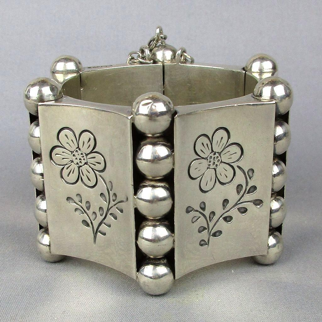 Heavy Modernist Sterling Silver Mexican Bracelet - Incredible