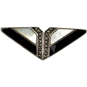 Vintage Sterling Silver Art Deco Pin Onyx MOP Marcasite