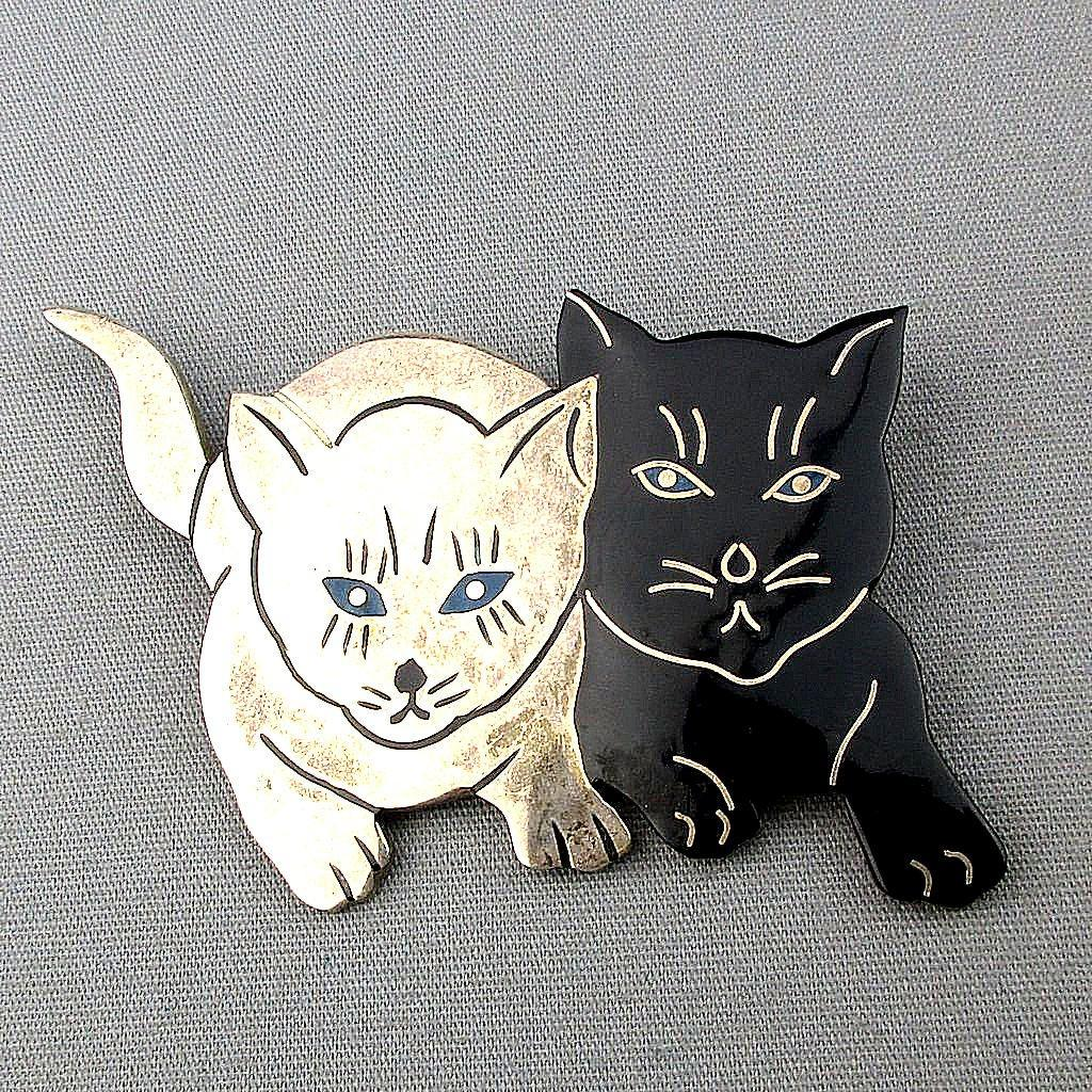 Vintage Taxco Sterling Silver Enamel CATS Pin Brooch