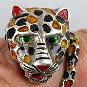Vintage Signed Sterling Silver Enamel Leopard Ring Austria