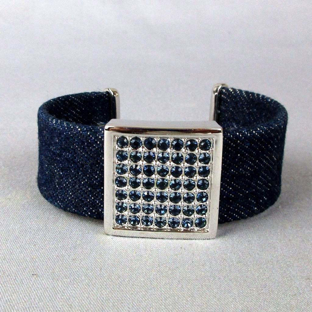 Vintage Swarovski Black Crystal Rhinestone Denim Cuff Bracelet