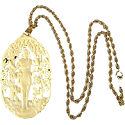 Art Deco French Ivory Celluloid Carved Androgynous Figure Pendant Necklace