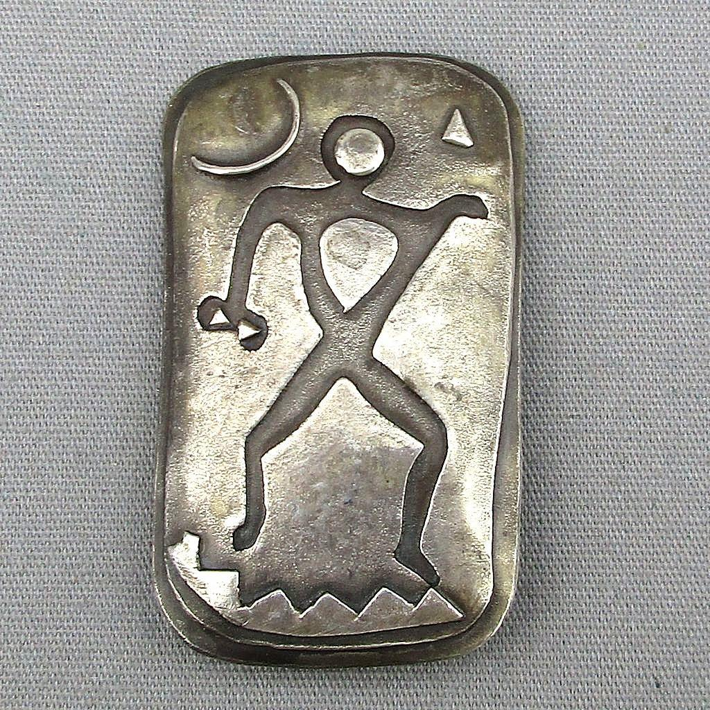 modernist sterling silver pin mod man under the moon from greatvintagestuff on ruby lane. Black Bedroom Furniture Sets. Home Design Ideas