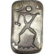 Modernist Sterling Silver Pin Mod Man Under The Moon