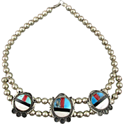 Vintage Zuni Sterling Silver Bead w/ Inlay Stones Necklace