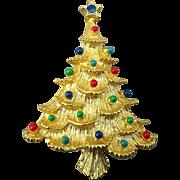 Vintage Eisenberg Ice Christmas Tree Pin w/ Jewel Balls