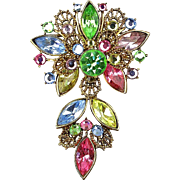 Vintage WEISS Multi Color Austrian Crystal Pin Brooch c1950