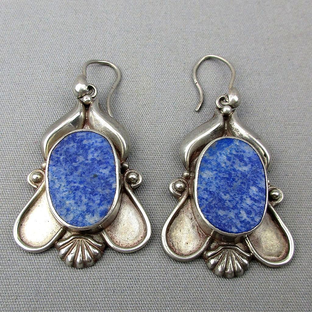 Vintage Sterling Silver Lapis Dangle Earrings from ...