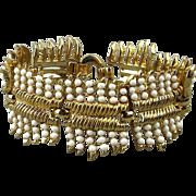 Crown Trifari 1950s Faux Gold Glass Bead Bracelet