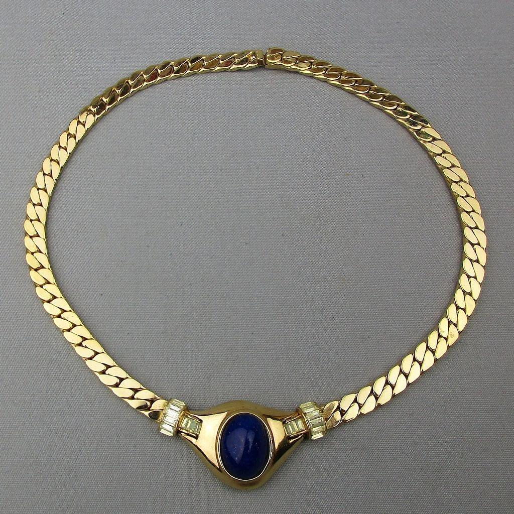 Elegant Vintage CINER Necklace Faux Gold Collar w/ Glass Lapis