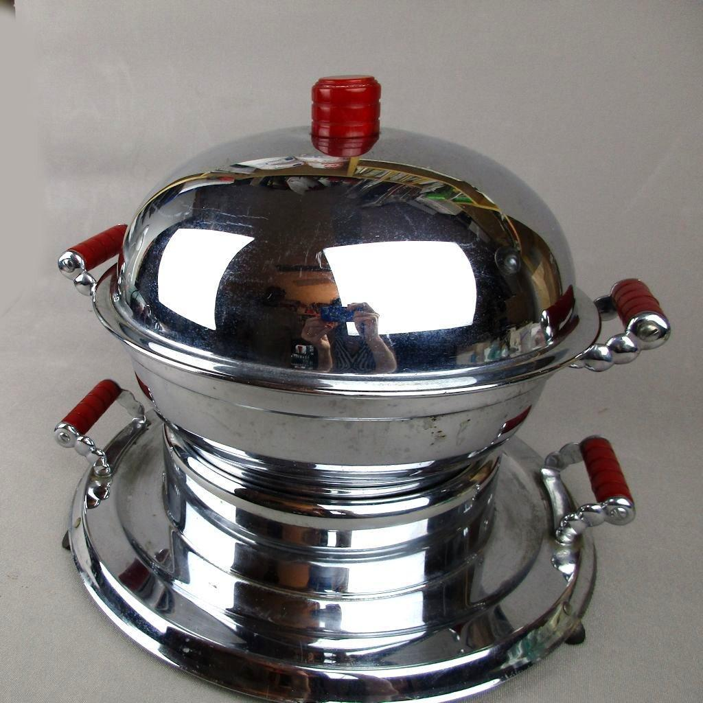 Art Deco Manning - Bowman Chrome & Bakelite Electric Food Dish