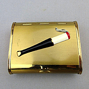 Art Deco Era Cigarette Case Box w/ Enamel Lit Cig in Holder