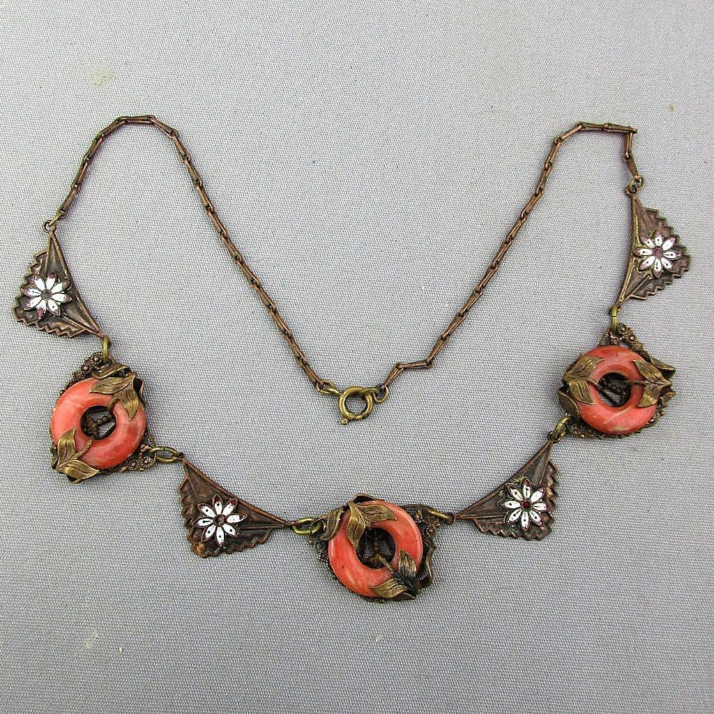 Gorgeous Old Czech Necklace Detailed Brass Enamel Porcelain