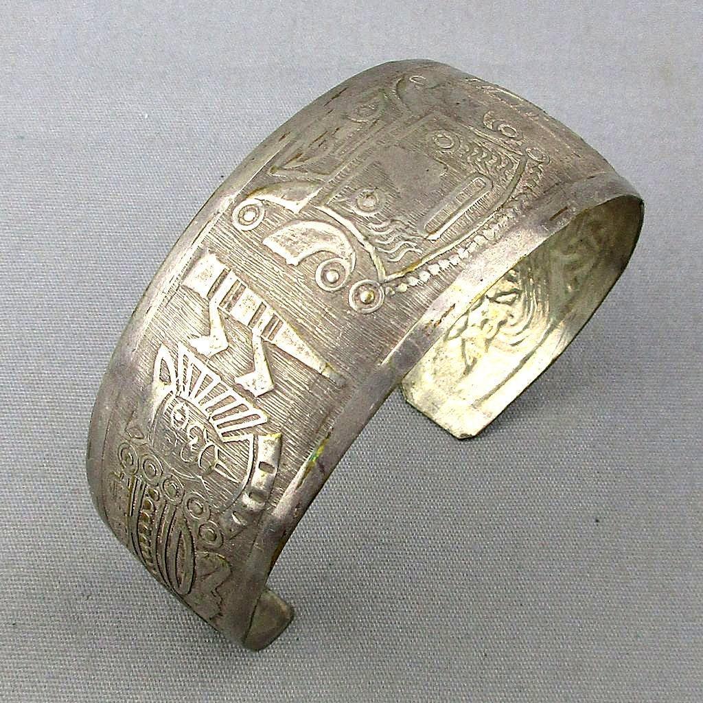 Vintage 925 Silver Peru Etched Cuff Bracelet