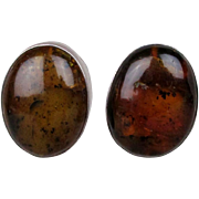 Big Chunky Sterling Silver Baltic Amber Clip Earrings