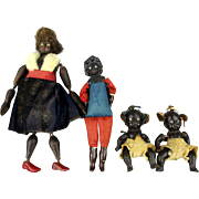 Old Black Americana Family of Dolls Mom Dad Babies Doll
