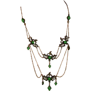 Old c1920 Festoon Necklace Bronze Brass Foliate Glass Faux Jade