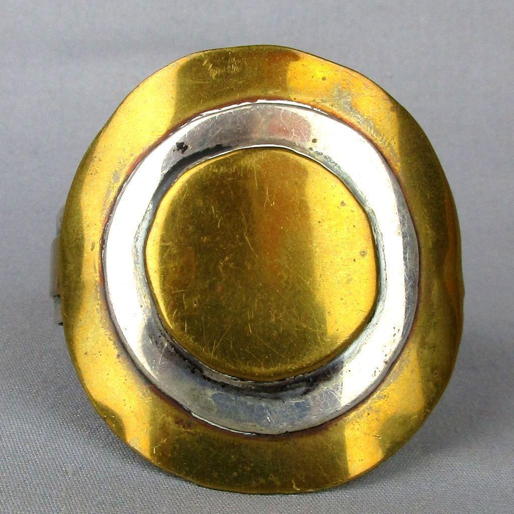 Modernist Handmade Sterling Silver Brass Cuff Bracelet