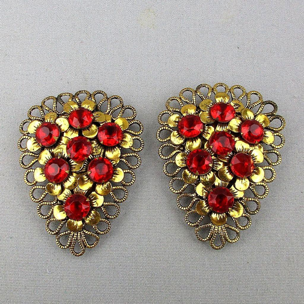 Art Deco Pair Vintage Red Rhinestone Brass Clips