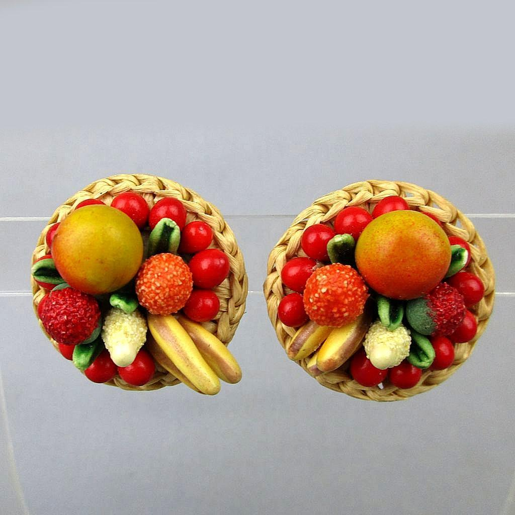 Vintage 1950s Fabulous FRUIT Basket Earrings W. Germany