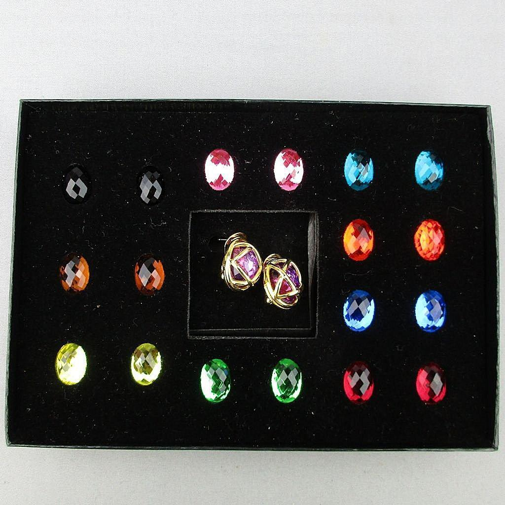 Joan Rivers Multi Color Stones Changeable Pierced Earrings Boxed Set