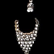 1960s Vendome Modernist Disk ~V~ Bib Necklace Earrings Set