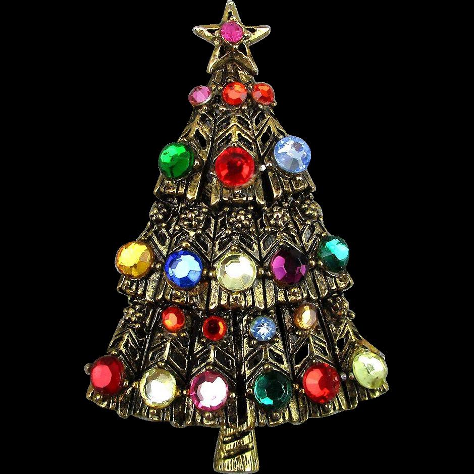 Vintage Christmas Tree Brooch