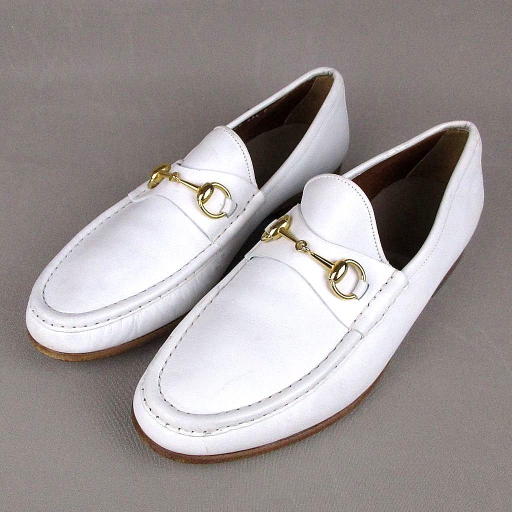Vintage Mens Gucci White Leather Horsebit Loafers Dress