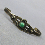 Old Small Navajo Cuff Bracelet Sterling - Turquoise