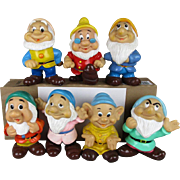 Vintage Walt Disney 7 Seven Dwarfs Vinyl Figurines Dolls Set