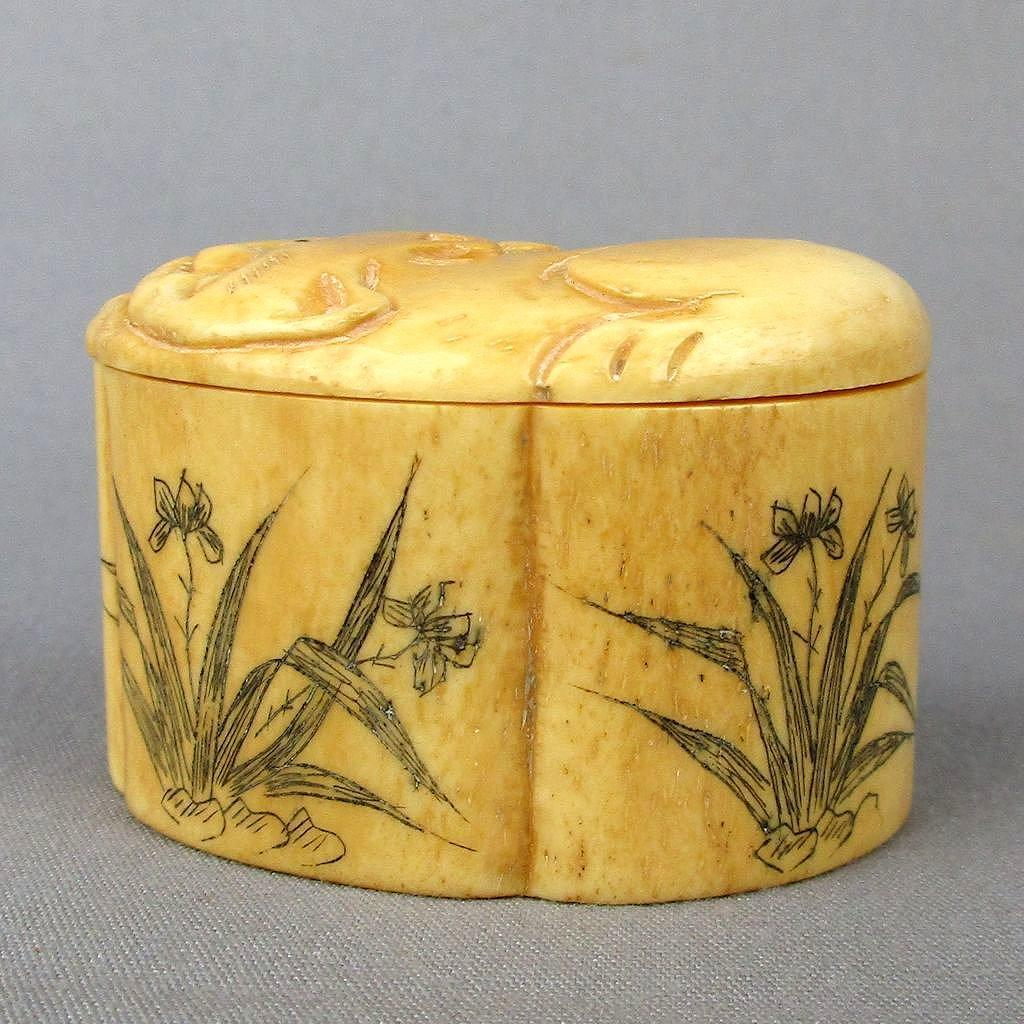 Vintage Asian Carved Bone Trinket Box w/ Cats - Foliate - Signed