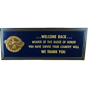 1940s WW II WELCOME BACK Embossed Tin Sign Ruptured Duck Thanks Vets