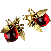Pair Vintage TRIFARI Bug Insect Pins Trembler Jelly Belly Rhinestone