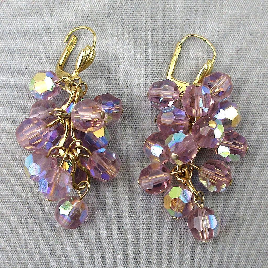 Vintage 14K Gold AB Crystal Bead Dangle Earrings