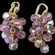 Vintage 14K Gold AB Crystal Bead Dangle Earrings