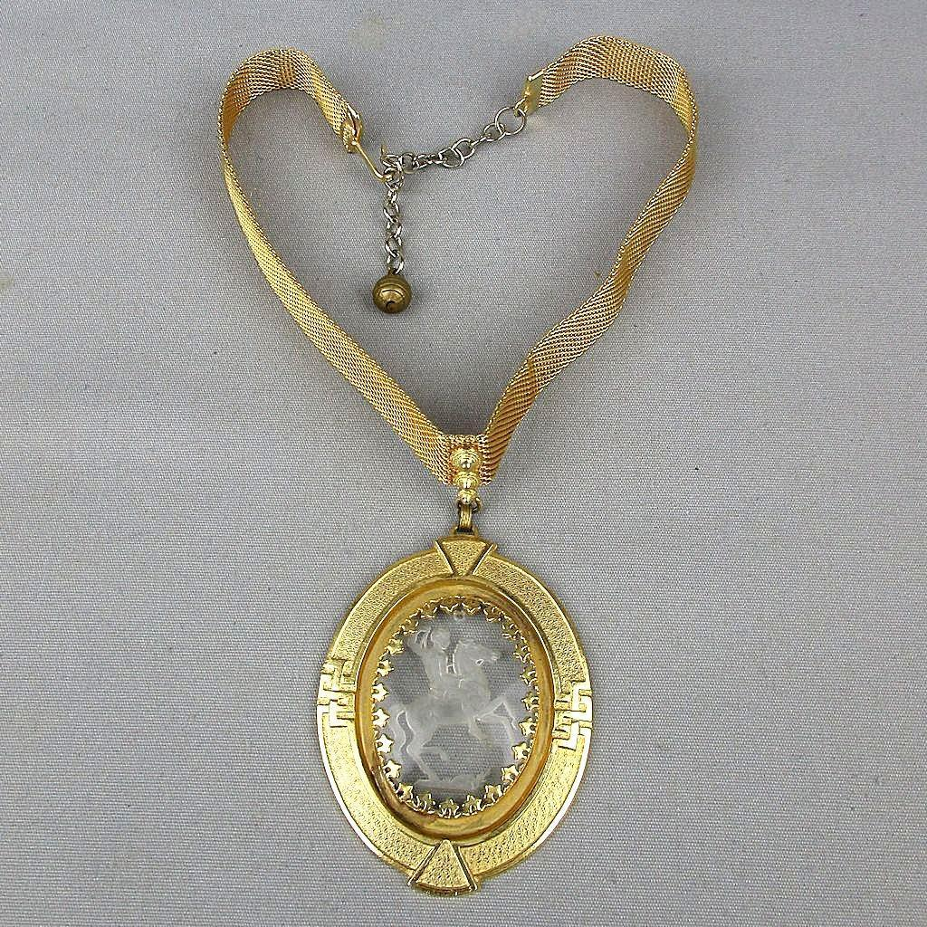 Vintage SANDOR Victorian Style Necklace w/ Horseman Glass Intaglio