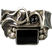 Modernist Sterling Silver Black Onyx Cuff Bracelet Brutalist Abstract