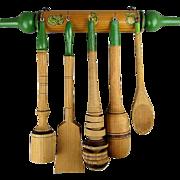 Vintage Wood Kitchen Set Hanging Rack w/ 5 Utensils Ready to Cook