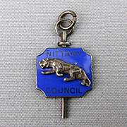 Old Sterling Silver Enamel PENN STATE Nittany Council Lion Pendant Fraternity Key