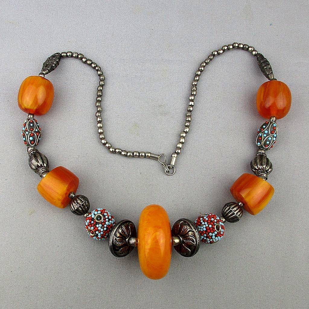 Bohemian Faux Amber Bead Necklace  Bold Ethnic Vintage. Mala Bead Beads. Artzire Beads. Golden Bead Beads. 10mm Bead Beads. Gili Beads. Peach Colour Beads. Handmade Silk Beads. Vintage Glass Murano Beads