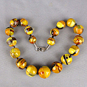 Most Unusual Modernist Baltic Amber Bead Necklace Egg Yolk Butterscotch