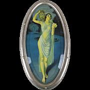 Art Deco 1920s Lady w/ Urn Litho Print in Orig. Bevel Glass Steel Frame