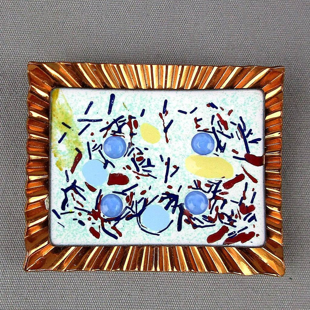 Vintage Enamel on Copper Jeweled Abstract Art Pin Brooch