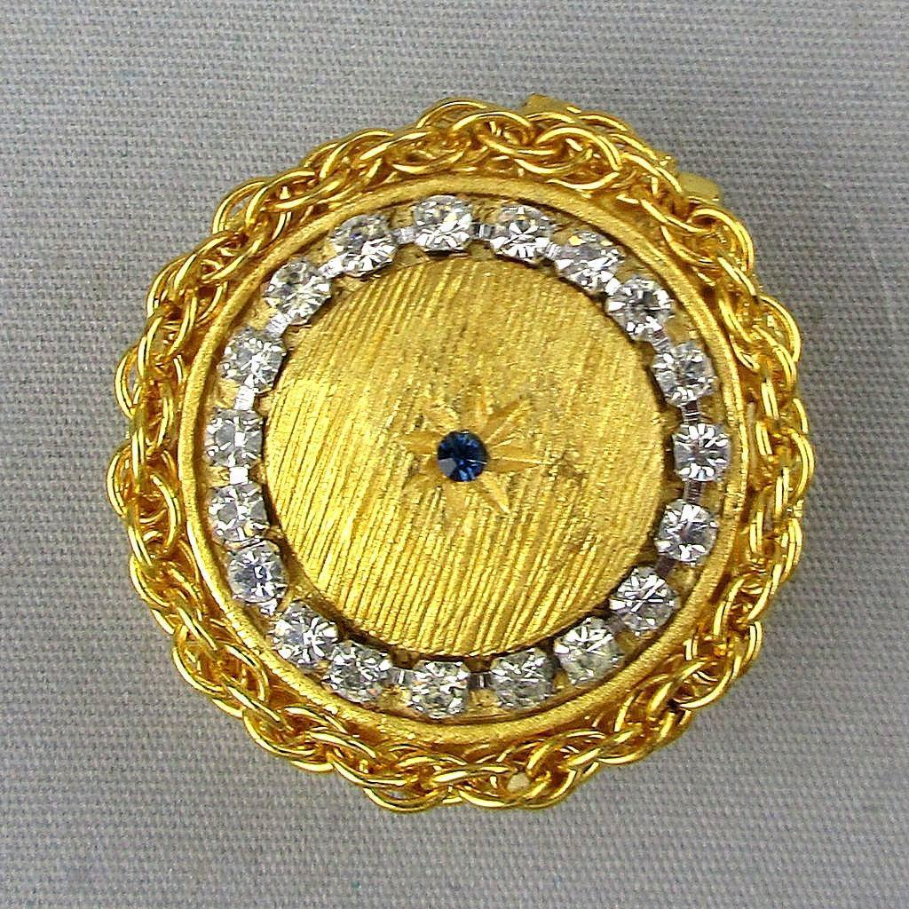 Vintage GOLDETTE Jeweled Rhinestone Pill Box Unused in Orig. Box